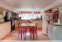 Red and Aqua Kitchen