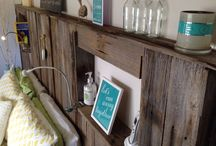 Recycled timber bed head board.  / Recycled picket fence