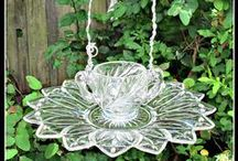 """Bird Houses - Feeders - Bath / You Might Also Enjoy My Boards Named... """"Glass Plate Flowers"""" and """"Garden Totems & Upcycled Glass"""" / by Judy"""