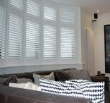 Bay Window Shutters / Shutters in bay windows are a beautiful room feature. Browse our photos of completed bay window installations for some wooden shutter inspiration.