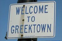 My Greek Side / My father's parents immigrated to this country in search of a better life & in persue of the American dream.  They settled in Savannah, Ga.  My father left home and worked for a while in Nashville, Tennessee.  There he met a strong willed country girl who stold his heart.  I grew up around my paternal grandparents, my Yiayia & Papou.  It was a life rich in tradition, church & robust personalities.  This board reflects that half of me, my Greek side.