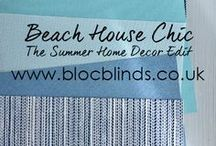 Summer Home Decor Edit 2017 / Bring the seaside to your home with Bloc Blinds' Coastal Decor Summer Style Edit 2017. Blue and Natural Roller Blind Fabrics help pull this stylish look together. Find out how to create this look in your home with Bloc Blinds' Style Blog.