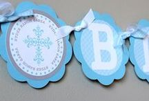 Baby Boy Baptism or Christening / Our cute collection of Baptism, Christening, or Dedication decor for a baby boy in light blue and grey. Banners, favor bag tags, cupcake toppers, paper straws and paper favor bags are available at The Pretty Party Shoppe.