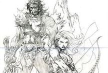 Inks/Drawings/Sketches / Major collection of drawing references and more!