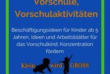 Vorschulaktivitäten, Vorschule / Beschäftigungsideen für Kinder ab 5 Jahren, Vorschule Ideen, Vorschule basteln, Vorschule Arbeitsblätter, Konzentration fördern