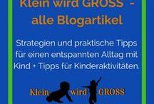 Klein wird GROSS Blog Artikel / Alle Artikel von meinem Blog Klein wird GROSS auf einer Pinnwand. Strategien und praktische Tipps für einen entspannten Alltag mit Kind + Tipps für Kinderaktivitäten.