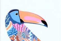 Bird Themed Prints / Bird themed art prints for your home and interiors. Screen prints and giclée prints by UK based artists and designers:  Crow - budgerigar - toucan - parrot - peacock - flamingo - pigeon - owl - chicken - cock - rooster