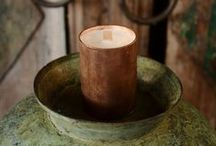 Copper Candles / Hand made copper candles and hand poured copper and gold glitter tea lights with scented, soy wax.