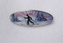 Norwegian enamel souvenir brooches