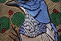 Printmaking / Linocut, woodblock, silk screen... wonderful examples of all manner for beautiful prints.