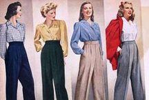 [1940s] ~ trousers & slacks / │1940s vintage fashion │ trouser fashions for women │ pants │ slacks │
