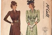 [1940s] ~ Autumn/Winter fashion / ★1940s vintage fashion ★ Fall / Winter fashions ★ plaids ★ wool dresses ★