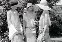 [1920s] ~ garden party dress / │1920s vintage fashion │dresses for afternoon tea or daytime social occasions │ the garden party afternoon tea dress was often white and gauzy │ daytime party dress │20s fashion │