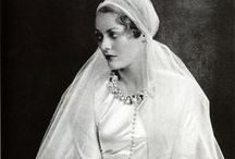 [1930s] ~ bridal fashion / │ 1930s vintage bridal fashion │bridal gowns │wedding gowns │bridesmaids dresses │the 1930s wedding gown was usually floor-length and could have quite a long train │ silk was a popular fabric in the 30s │