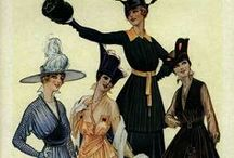 1910s day fashions / │ women's vintage fashion from 1909-1919 │ Edwardian fashion era often includes the 1910-1914 period leading up to start of WWI │ during WWI (The Great War) women's fashions became more somber-toned and practical │