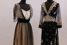 1910s evening fashions / │ women's vintage fashion from 1909-1919 │ Edwardian fashion era often refers to the 1910-1914 period leading up to start of WWI │ during The Great War of WWI, women's fashions became more somber-toned and practical │