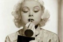 [1930s] ~ make-up & hair / ★1930s make-up fashion ★ vintage cosmetics ★ the 30s make-up style featured thin, rounded eyebrows and a wider, more natural lip shape than the 20s ★ hair length was short with set curls or finger waves ★ beauty icons: Greta Garbo, Jean Harlow, Carole Lombard, Myrna Loy, Ginger Rogers ★