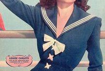 [1940s] ~ nautical fashion / ★1940s nautical fashion ★ red+white+blue ★ sailor style ★