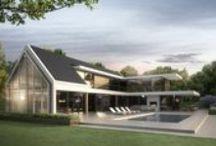 Modern warm landhuis / Moodboard, met warme natuurlijke materialen.