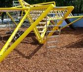 Alexandra Road Park - Playground Equipment / The Alexandra and Ainsworth estate is a world famous estate renowned for its Brutalist architecture. This meant that the new playground equipment needed to be sympathetic to its august surroundings.  Erect Architecture developed this unique design of a series of self supporting steel triangles combined with wooden platforms. The obscure angles and bright colours bring excitement to the playground equipment, creating a vibrant and imaginative place for children to play.