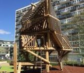 Woodhouse Urban Park - Playground Equipment / The playground equipment at Woodhouse Urban Park in Queens Park, London, has been created to offer an attractive, exciting space for the local community rejuvenating the area.  Erect Architecture developed the design. The playground equipment consisted of a number of large bespoke oak structures.