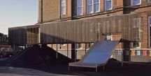Chisenhale Primary School - Playground Equipment / With limited space and increasing numbers of children the school needed to make the most of their space. Asif Khan Architects designed this stilted structure. The main frame is manufactured from steel with timber cladding.