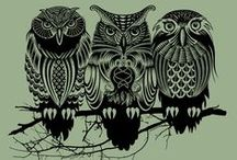 """What's """"Owl"""" the Fuss About? / Owls in art: painting, posters and illustrations / by Patricia Parden"""