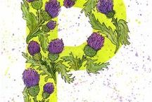 "Letters / my work - the project ""flower alphabet."" The letters are painted in watercolor and Liner."