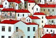 Taloja taiteillen / Monenlaisia taloja, maalla, kaupungissa...erilaisia koteja.