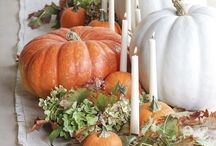 Fall Home Decor and More / Decorating and entertaining for Autumn and Fall, Thanksgiving and more for interiors or exteriors. Pumpkins are the featured centerpiece.