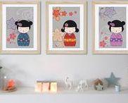 kokeshi décoration / décoration de chambre d'enfant avec des kokeshis, poupées japonaises, chambre de petite fille. décoration murale, affiche enfant, wall art decor, girl room decor, baby nursery