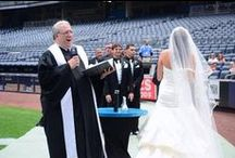 Weddings at Yankee Stadium / I had no idea you could rent out so many different spaces in the stadium.  Or, if the team is out of town, have your ceremony right behind home plate!!  I got to marry two couples (different dates) at the stadium.