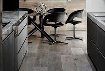 Wood, black,  white, mix  interior