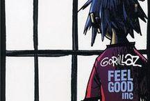 Gorillaz / 2D, Murdoc Niccals, Noodle and Russel Hobbs.