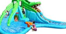 Residential Water Slides / These bounce houses are ideal for children 3-12 years of age that are under 100 lbs in weight. Meant for home use only.