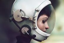 Space girls / A bit of inspiration if you are entering the 3DTotal Space Girl competition...