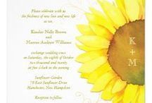 Autumn Sunflowers Wedding Collection / Fall sunflowers, painted in watercolor, and stylish textured backgrounds (printed barn wood door, burlap, rustic textures & papyrus) on elegant sunflower theme wedding cards & favors!