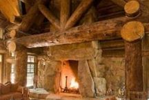 fireplace in the country house / a beautiful fireplaces in the country house