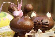 Pâques, Easter / Recettes chocolatées et gourmandes autour de Pâques. Moulages, layer cakes, décorations, oeufs, ...