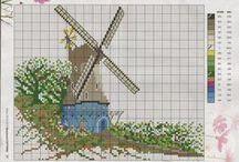 MAJAKAT/TUULIMYLLYT / Ristipistoin tehtyja majakoita ja tuulimyllyjä