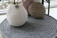 Crochet pillows, baskets & rugs
