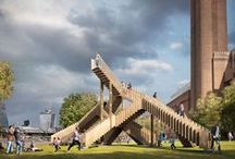 Endlless Stairs London Design Festival / Endless Stair sees the London Design Festival reviving its longstanding relationship with the American Hardwood Export Council (AHEC) in a playful, yet technically ambitious public project to be installed with the powerful backdrop of one of the city's best-loved landmarks, Tate Modern.