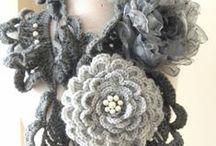 Crochet flowers scarf