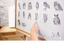 50 SHADES OF OWLS / The project by Asya Mitskevich that she started in March 2015 - to draw 1 owl each day.  Shop https://www.etsy.com/shop/asyamitskevich