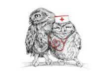OwlyWednesdays / 10 Wednesdays = 10 funny owls' illustrations by Asya Mitskevich.