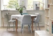 Home DINING ROOM ♥ / *A Big Table With Different Chairs In White & Grey Please!*