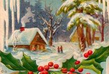 Christmas Vintage, Retro Cards / staré pohlednice, výzdoby ...