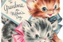 Mother's Day - Vintage -  Den matek / krátsné staré pohlednice ke Dni matek
