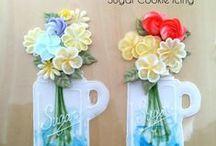 Cookies with flowers / sušenky zdobené květinami