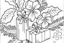 Christmas Coloring Pages, Silhouette, .../Vánoční omalovánky, výšivky, siluety ......